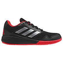 Buy Adidas Children's Alta Run CF Lace Up Trainers, Black/Red Online at johnlewis.com