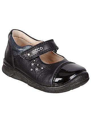 ECCO Children's Star Riptape Leather First Mary Jane Shoes, Black