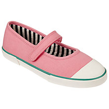 Buy John Lewis Children's Mary Jane Stripe Lined Rip-Tape Pumps, Pink Online at johnlewis.com