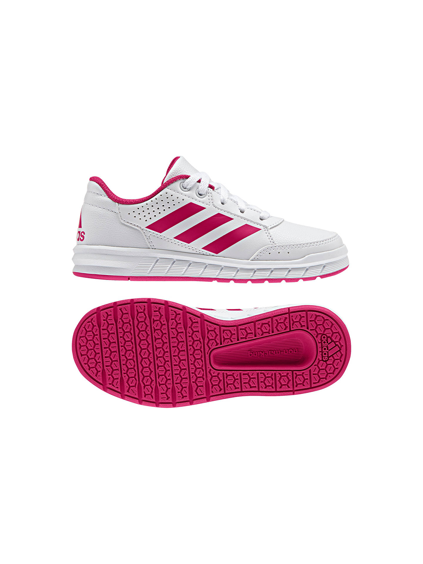 Buy adidas Children's Alta Sport CF Lace Up Trainers, White/Pink, 3 Online at johnlewis.com