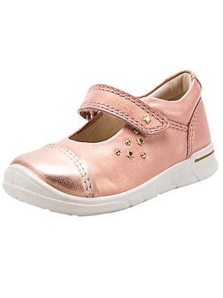 ECCO Children's Star Riptape Leather First Mary-Jane Shoes, Metallic Pink