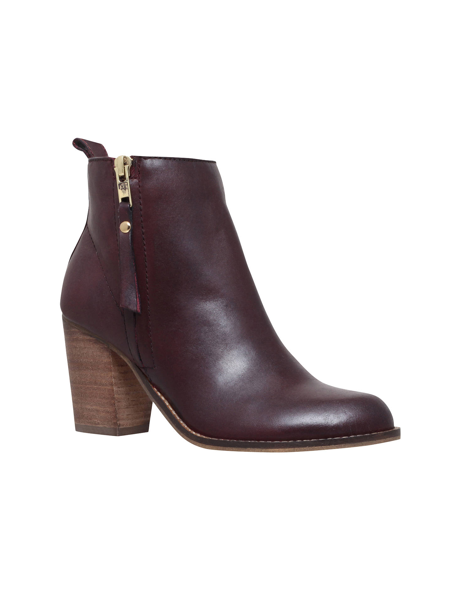 BuyCarvela Tanga Block Heeled Ankle Boots, Wine Leather, 5 Online at johnlewis.com