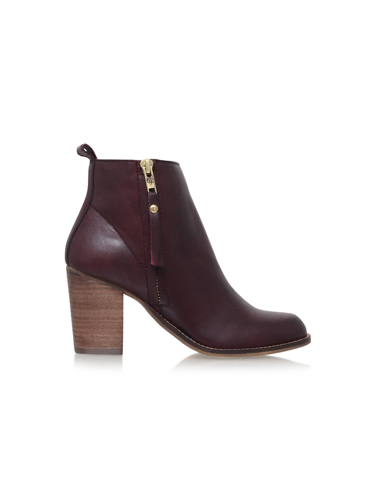 Buy Carvela Tanga Block Heeled Ankle Boots, Wine Leather, 5 Online at johnlewis.com