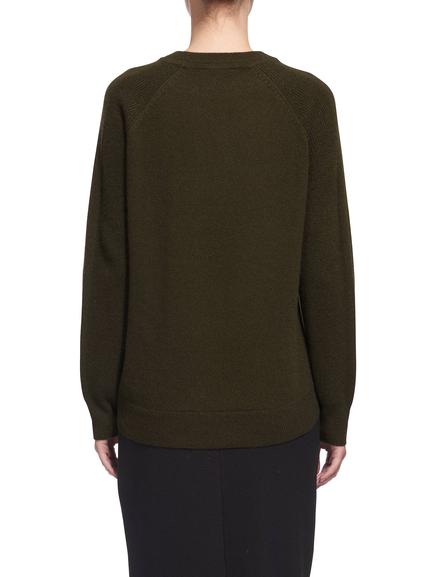 BuyWhistles Ribbed Sleeve Cashmere Jumper, Khaki, XS Online at johnlewis.com