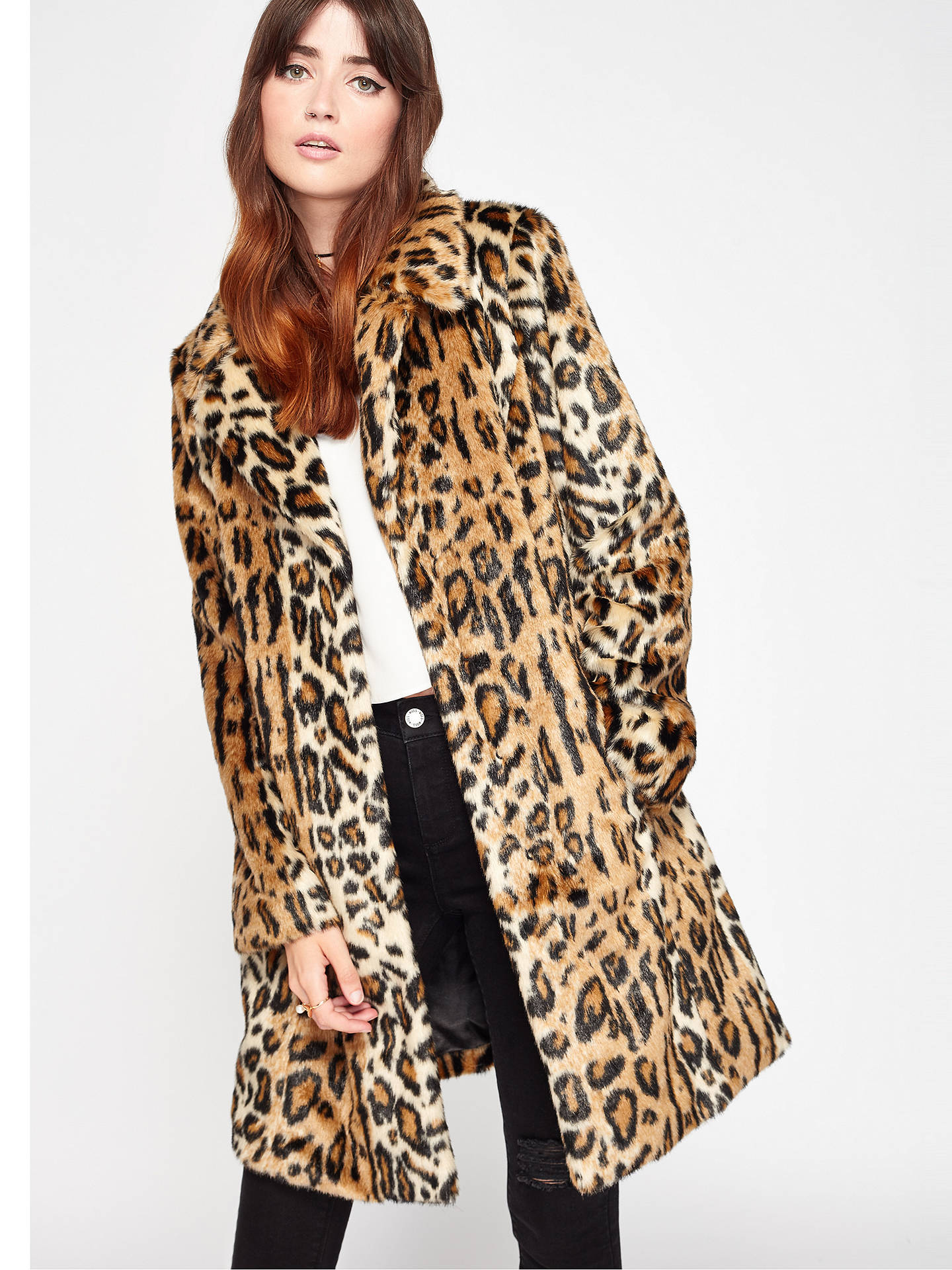 BuyMiss Selfridge Leopard Print Faux Fur Coat, Mid Brown, S Online at johnlewis.com