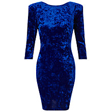 Buy Miss Selfridge Long Sleeve Velvet Dress, Dark Blue Online at johnlewis.com