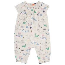 Buy John Lewis Baby Sea Print Romper Playsuit, Cream Online at johnlewis.com