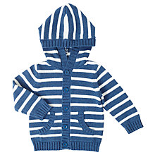 Buy John Lewis Baby Striped Hooded Cardigan, Blue/White Online at johnlewis.com