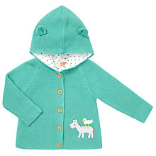 Buy John Lewis Baby Knitted Donkey Hooded Cardigan, Aqua Online at johnlewis.com