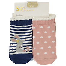 Buy John Lewis Baby Cat and Mouse Character Socks, Pack of 5, Multi Online at johnlewis.com