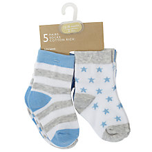 Buy John Lewis Baby Stripe and Star Print Socks, Pack of 5, Blue/Multi Online at johnlewis.com