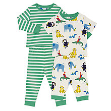 Buy John Lewis Baby Jungle Animal and Striped Pyjamas, Pack of 2, Green/Multi Online at johnlewis.com