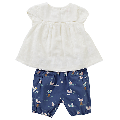 John Lewis Baby Top and Bloomers Seaside Set, White/Blue