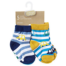Buy John Lewis Baby Car Socks, Pack of 5, Assorted Online at johnlewis.com