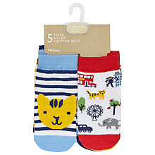 Buy John Lewis Baby London Zoo Socks, Pack of 5, Multi Online at johnlewis.com