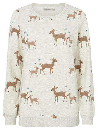 Buy Sugarhill Boutique Bambi Print Sweatshirt, Cream Marl, 8 Online at johnlewis.com