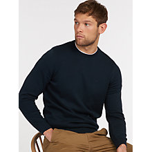 Buy Barbour Pima Cotton Crew Neck Jumper, Navy Online at johnlewis.com
