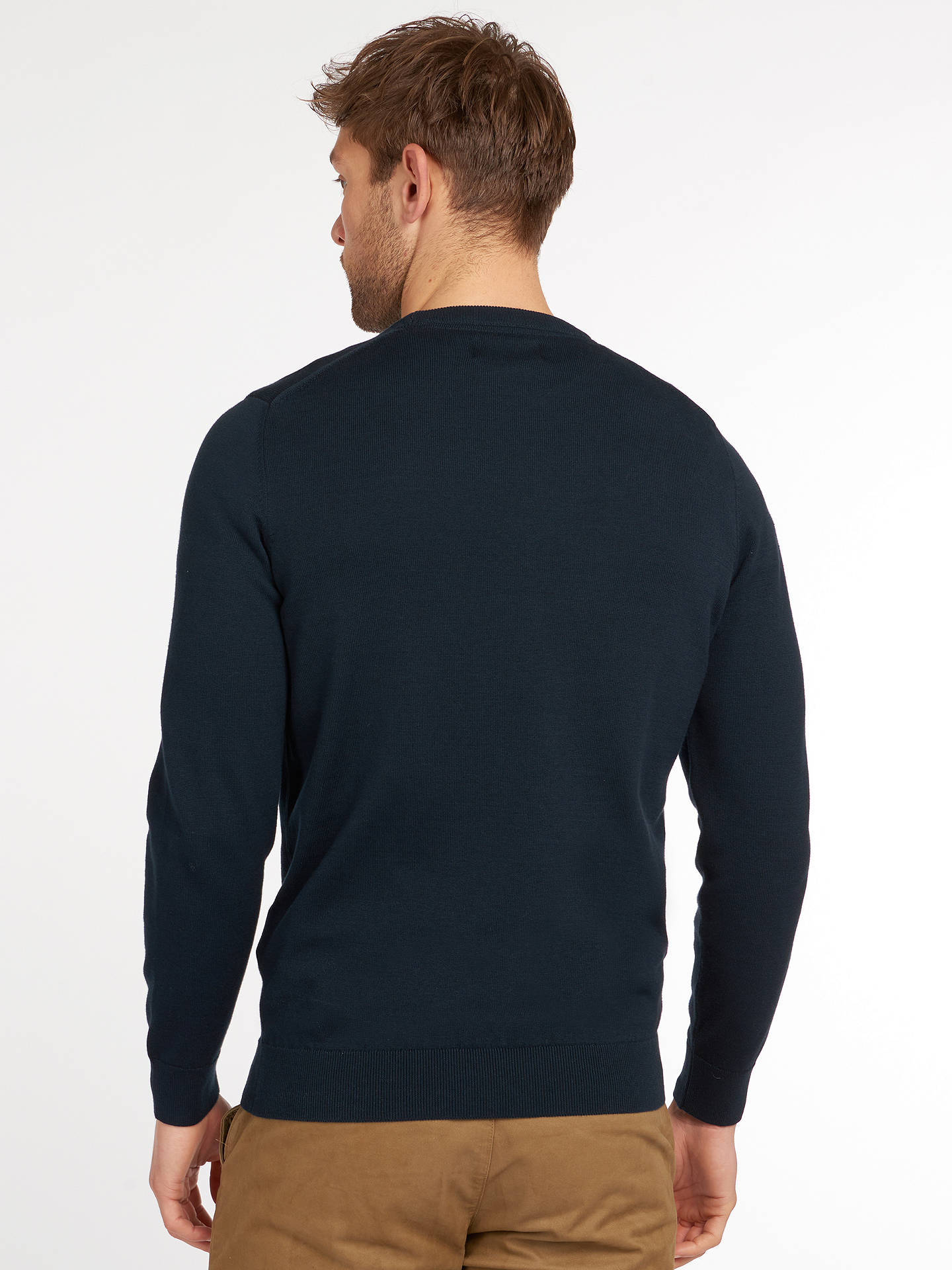 BuyBarbour Pima Cotton Crew Neck Jumper, Navy, S Online at johnlewis.com