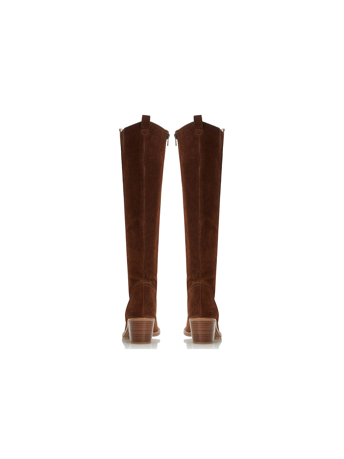 d31488ec57b4e ... Buy Dune Twitchell Suede Stacked Heel High Leg Boots, Brown, 3 Online  at johnlewis ...