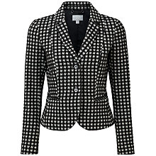 Buy Pure Collection Deborah Cropped Ponte Jacket, Black/White Dogtooth Online at johnlewis.com