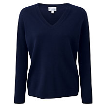 Buy Pure Collection Serena Relaxed Cashmere Jumper, Navy Online at johnlewis.com