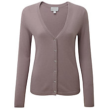Buy Pure Collection Kirsten Cashmere V Neck Cardigan, Smokey Rose Online at johnlewis.com