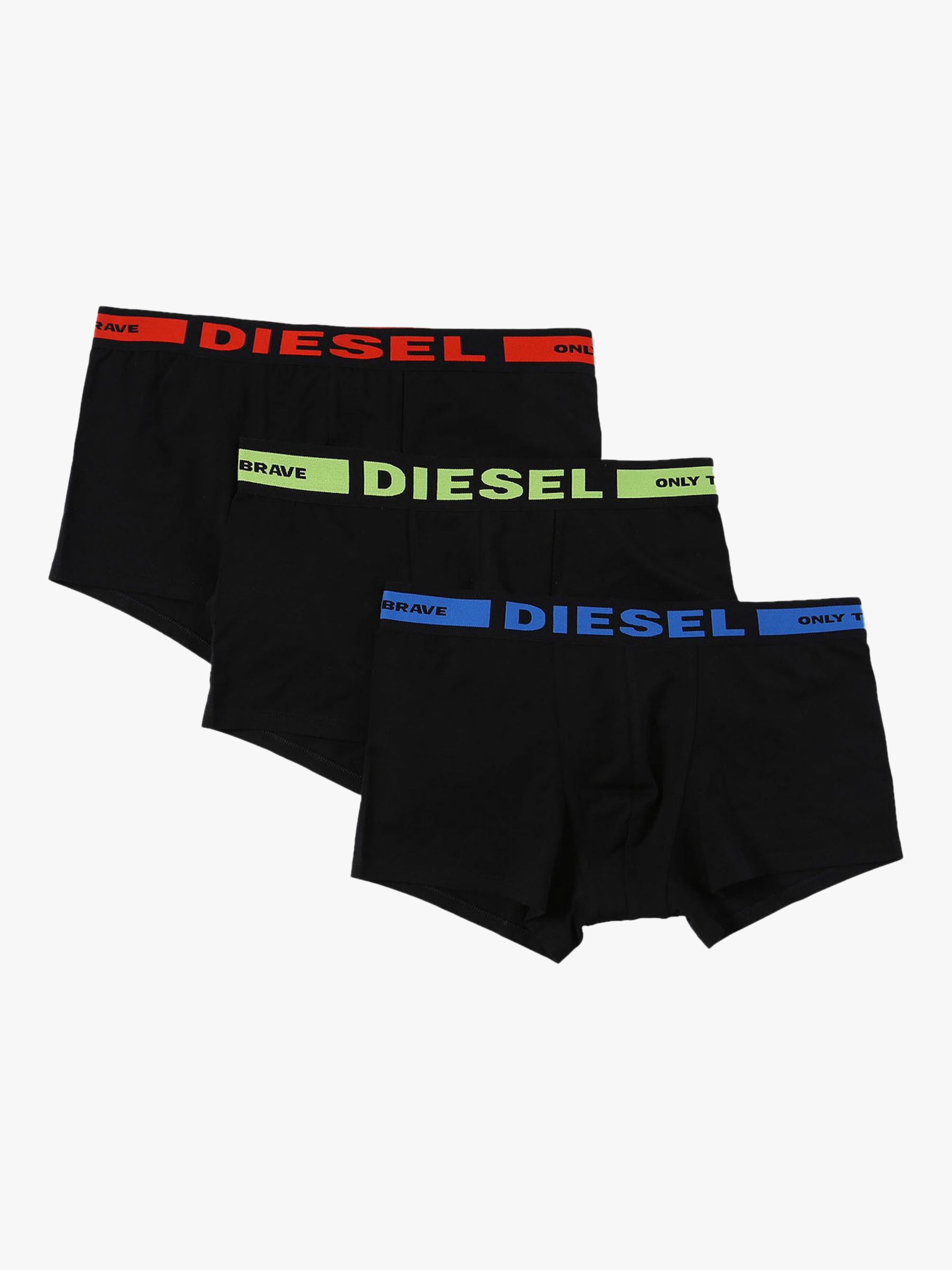 Diesel Diesel Kory Plain Stretch Cotton Trunks, Pack of 3, Black