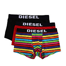 Buy Diesel Rainbow Plain Stripe Trunks, Pack of 3, Black/Red/Multi Online at johnlewis.com