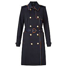 Buy Lauren Ralph Lauren Trench Coat With Faux Leather Trim, Capri Navy Online at johnlewis.com