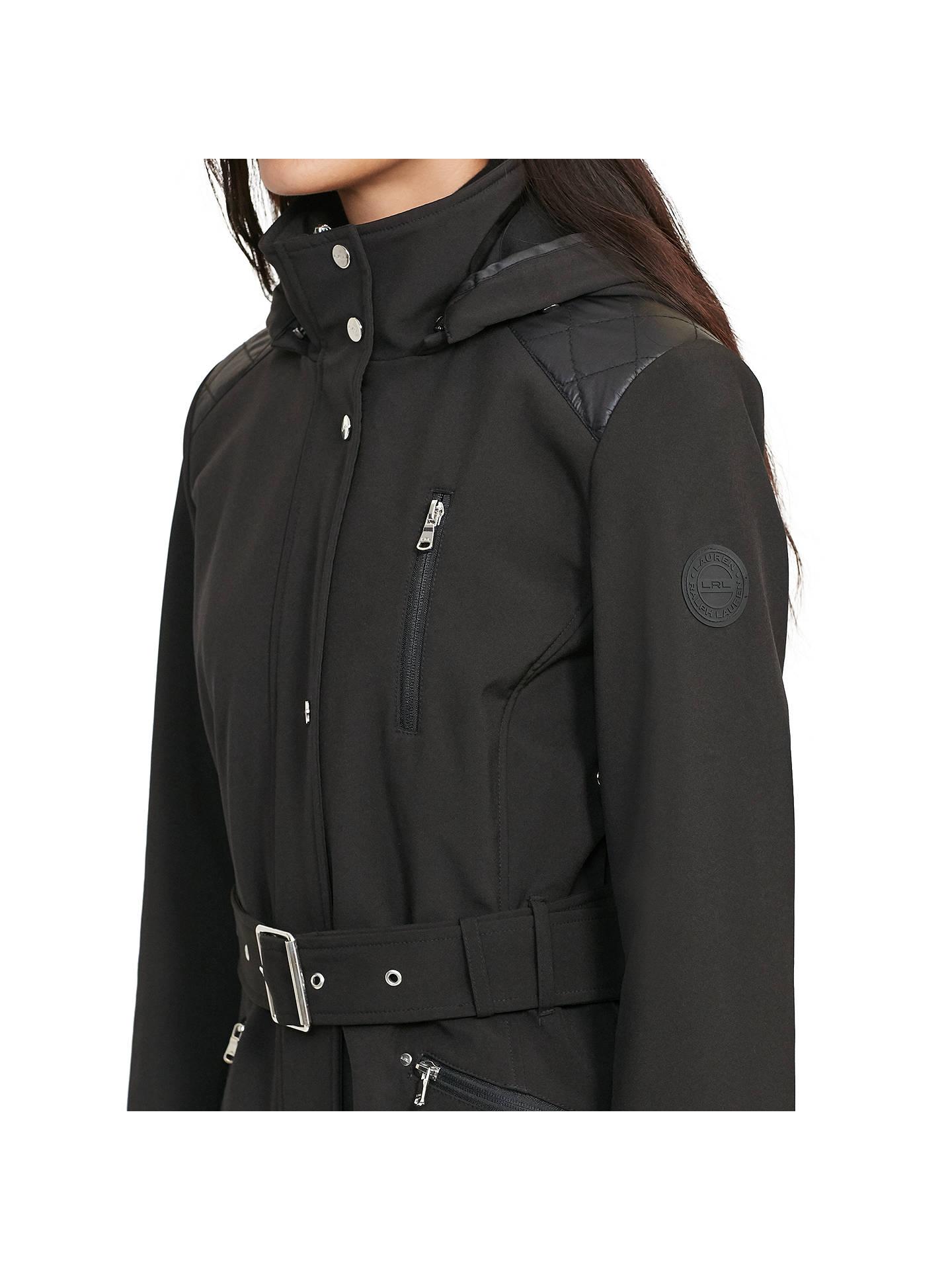 e360d5c7 Lauren Ralph Lauren Hooded Trench Coat, Black at John Lewis ...