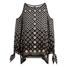 Buy Max Studio Cold Shoulder Printed Top, Black/Off White Online at johnlewis.com