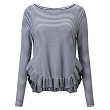 Buy Marella Nitrite Frill Stripe Jumper, Navy/White Online at johnlewis.com
