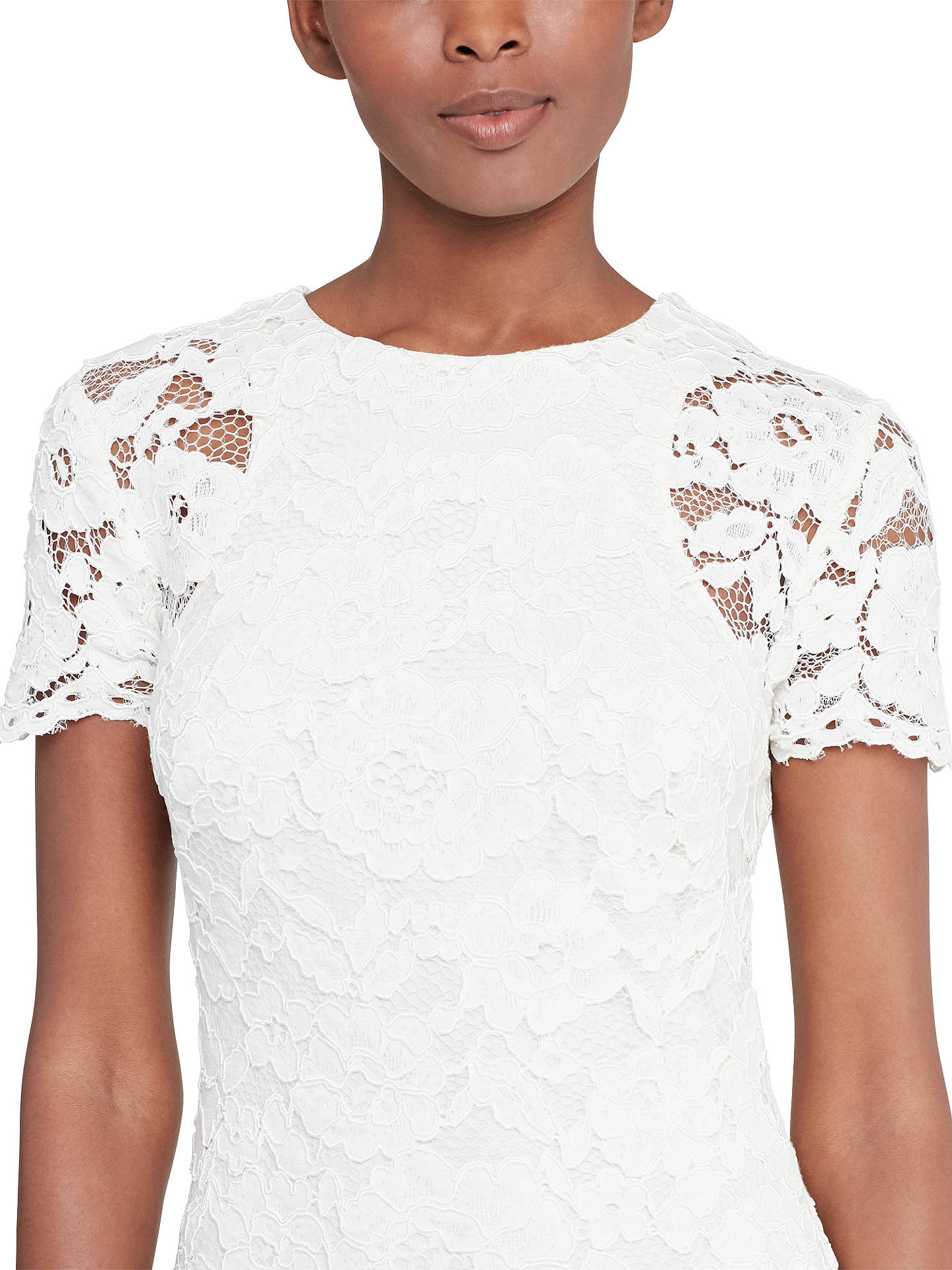 Buy Lauren Ralph Lauren Lace Sheath Dress, Ivory, 8 Online at johnlewis.com