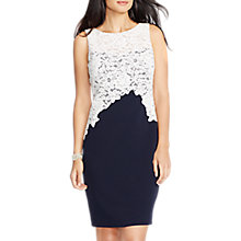 Buy Lauren Ralph Lauren Lace Applique Sheath Dress, Navy/Ivory Online at johnlewis.com