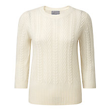 Buy Pure Collection Kristina Lofty Cable Jumper, Soft White Online at johnlewis.com