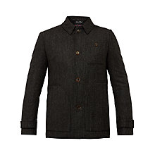 Buy Ted Baker Robson Collared Wool Overcoat, Charcoal Online at johnlewis.com