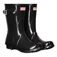 Buy Hunter Women's Original Short Gloss Wellington Boots, Black Online at johnlewis.com