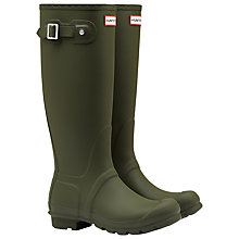 Buy Hunter Original Tall Adjustable Wellington, Dark Olive Online at johnlewis.com