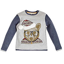Buy Angel & Rocket Boys' Bear Print Jumper, Grey Online at johnlewis.com