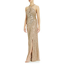 Buy Adrianna Papell Halter Gown With Keyhole Detail, Champagne/Gold Online at johnlewis.com