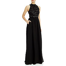 Buy Adrianna Papell Faux Leather Flower Chiffon Gown, Black Online at johnlewis.com