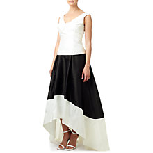 Buy Adrianna Papell Hi Lo Colourblock Taffeta Skirt, Black/Ivory Online at johnlewis.com