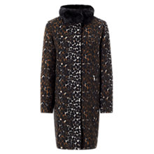 Buy Four Seasons Animal Print Coat, Black/Brown Online at johnlewis.com
