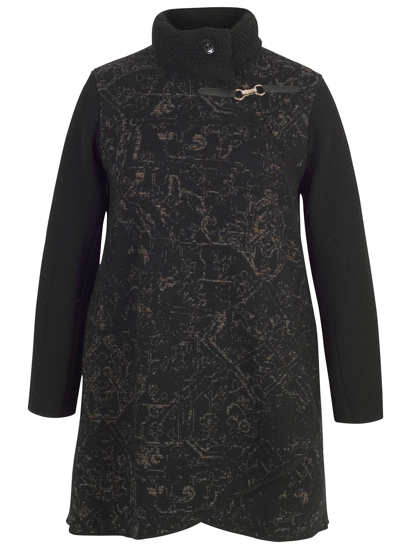 Buy Chesca Cable Collar Baroque Coat, Black, 12-14 Online at johnlewis.com