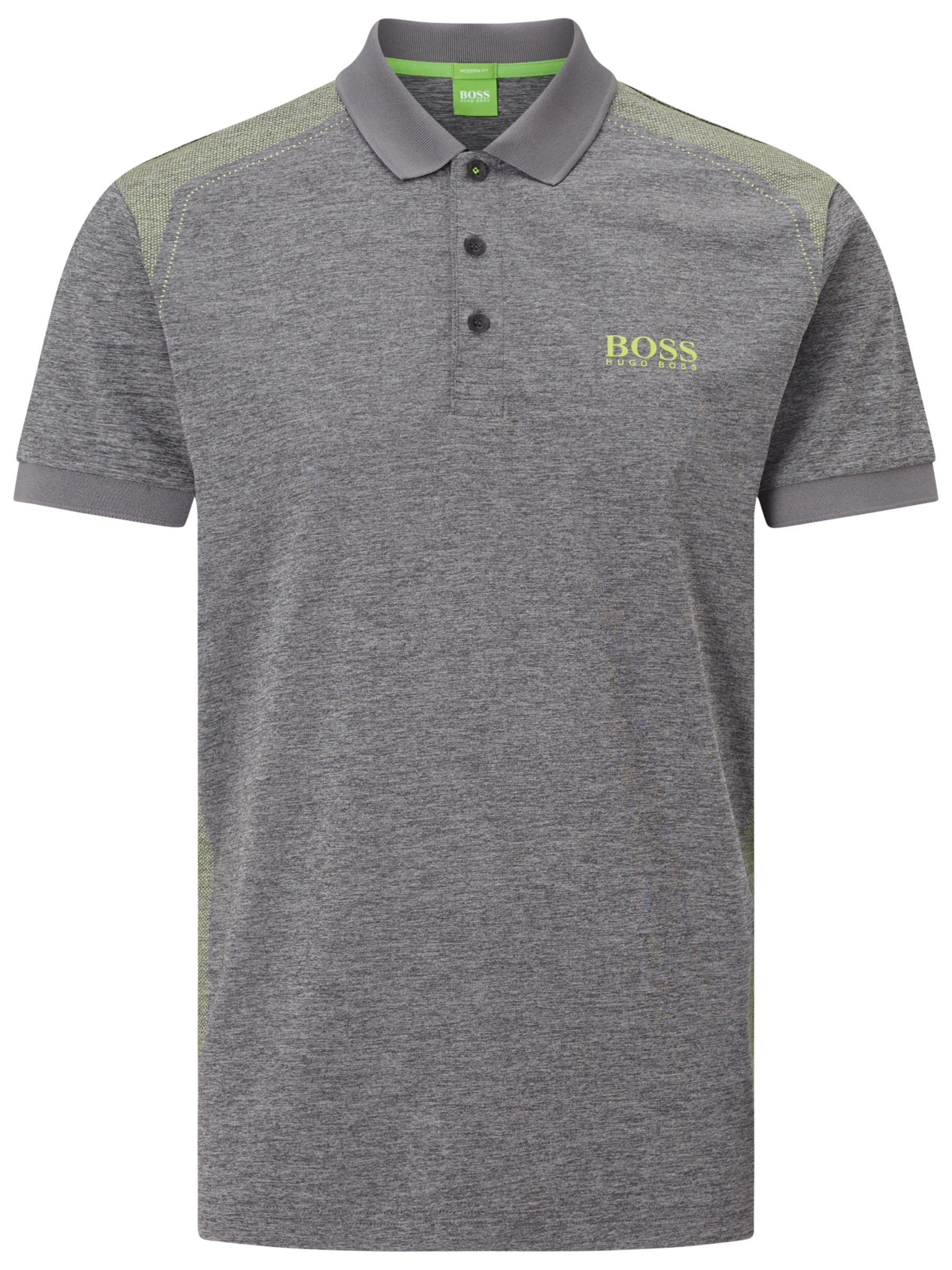 64425408 BOSS Green Pro Golf Paddy Pro 3 Polo Top, Medium Grey at John Lewis ...