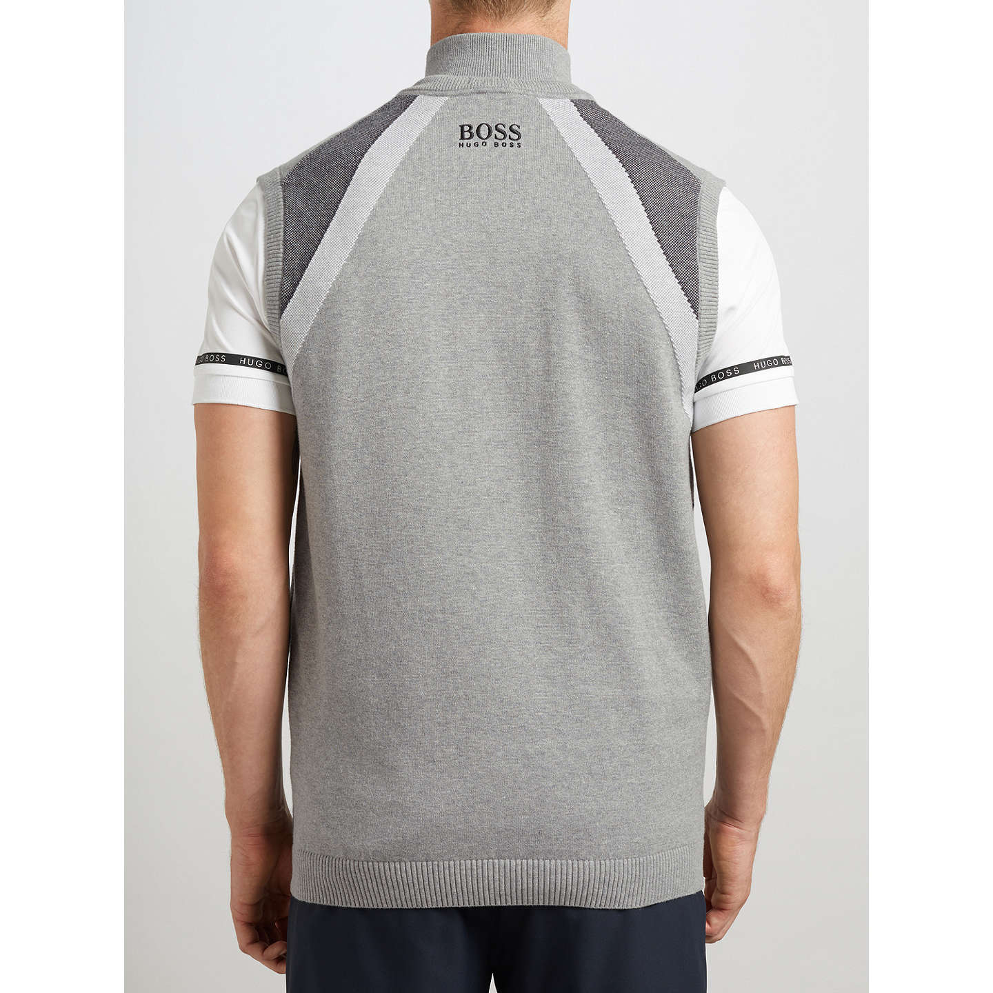 BuyBOSS Green Pro Golf Zagi Pro Knitted Sleeveless Vest, Light Pastel Grey, S Online at johnlewis.com