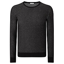 Buy J. Lindeberg Marc Mouliné Cotton Knit Jumper, Black Mouline Online at johnlewis.com