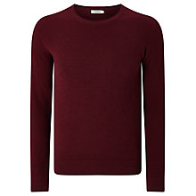 Buy J. Lindeberg Dexter Patterned Crew Neck Jumper, Burgundy Melange Online at johnlewis.com