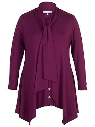 Chesca Pussybow Button Through Tunic, Plum