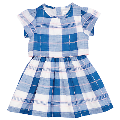 Product photo of John lewis baby two tier checked dress blue